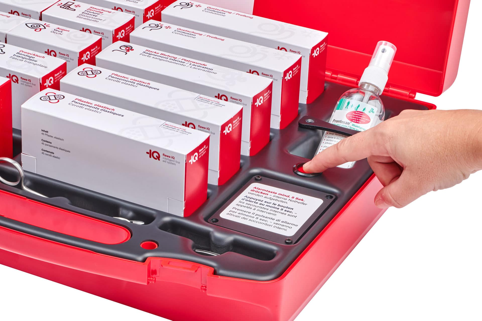 Intelligente Erste-Hilfe-Apotheke mit integrierter Alarmfunktion